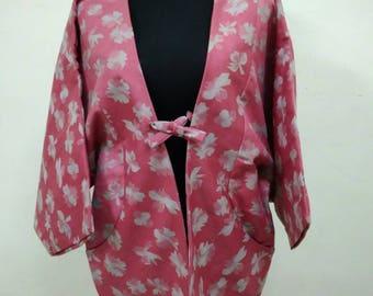 Japanese haori kimono pink floral pocket kimono jacket /kimono cardigan/vintage kimono robe/#037