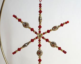 Beaded Star Ornament - Gryffindor House