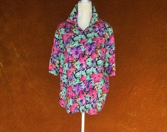 Vintage 1980s Gitano Floral Button Up