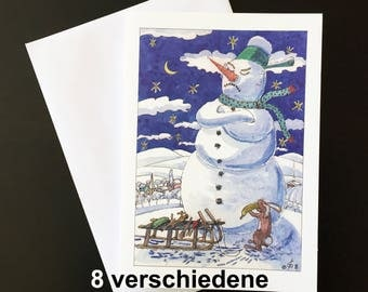 "8 Set-Christmas card ""snowmen, hares and carrot noses"""