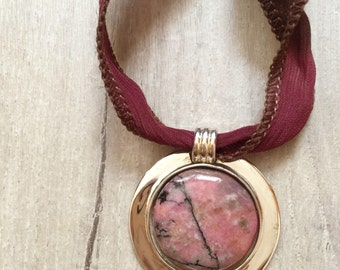 Rhodochrosite Pendant / Natural Stone Pendant / Polished Pink Stone Necklace / Rhodochrosite Cabochon