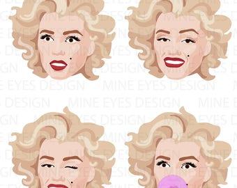 MARILYN MONROE - 8 images - Norma Jean digital svg clip art set - blonde bombshell