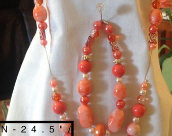 Exotic Orange and Gold Pendant makes the Statement for this Orange Hand Beaded Jewelry Set. 3 Piece Set. Bold, Strong, Bright, Electric