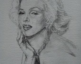 Marilyn Monroe, black and white pencil sketch, movie icon, white 12 x 10 mount, screen goddess, movie star, freed postage, original drawing