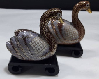 Couple of swans in cloisonnè with wooden base-3 different colors