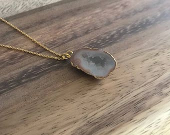 Dainty Minimalist Geode Druzy Necklace with Gold Plated Chain