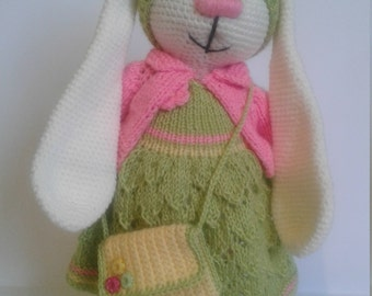 knitted toy bunny in a dress chrochet toy gift for the girl soft toy