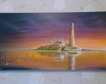 original acrylic painting of st Marys light house Whitley bay
