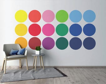 Colorful dots wall decal home office nursery wall decor vinyl decal