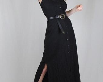 Vintage Black Linen Dress
