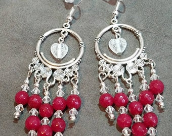 Heart Chandelier Earrings