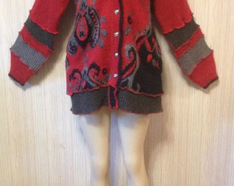 Sweater HOODIE Katwise Inspired Festival Up-cycled Fairy Recycled Hippie Hood Fairy Wearable Art Jacket OOAK size XL Ships out now!