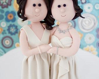 Same Sex Wedding Cake Topper, Customize 2 brides or 2 Grooms wedding Figures