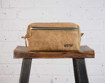 Camel Tan Rugged Personalized Dopp Kit Bag Groomsmen Gift for Dad Grad Leather Toiletry Bag with Monogram Mens Leather Custom Felix Street
