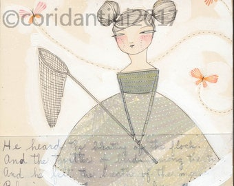 Original Watercolor woman with butterflies, bug net ON SALE