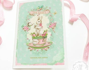 Rabbit card, Easter card, baby card, tea party, birthday card, baby shower, blank inside