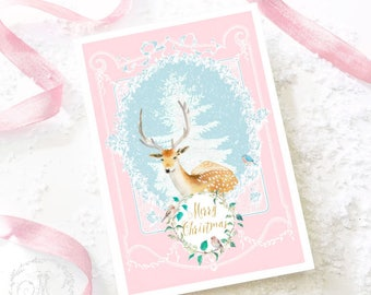 Deer Christmas card, reindeer and birds, pretty romantic, shabby cottage holiday card, blank inside