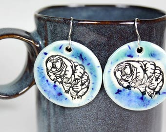 Water Bear Earrings in Speckled Blue