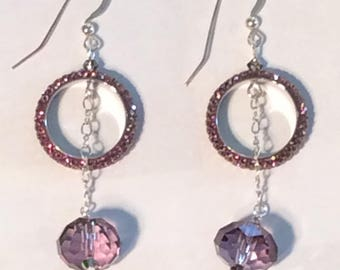 Swarovski Crystal Pave ring earrings