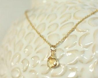 Sparkling Citrine Gold Necklace