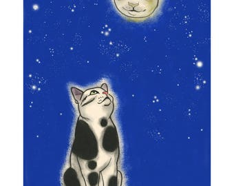 "Cat art -   The Cat in the Moon 4"" X 6""  print - 4 for 3 SALE"