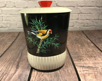 Bird - Cookie or Biscuit Tin - Black and Gray - Red knob - Litho