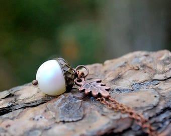 Faerie Magic Acorn Necklace   Iridescent White and Copper Acorn Pendant   Nature Jewelry   Fall Acorn Charm Necklace