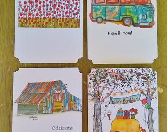 Happy Birthday, Assorted Notecard set, Boxed Set of 8