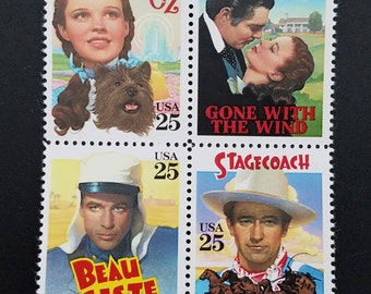 Eight (8) vintage postage stamps - Classic movie posters // 25 cent stamps // Face value 2.00