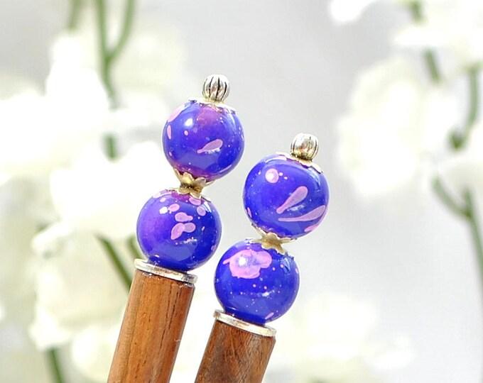 "Pair of Hairsticks Purple Hair Sticks Wood Hairstick Purple Pink Handmade Hair Pin Hair Chopsticks - ""Rain Spirit"""
