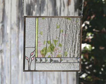 ENGLISH GARDEN-Abstract Stained Glass Window Panel, Stain Glass Window, Pink, Green, Rose, Clear Bevels, Garden, Flowers, Ready to Ship