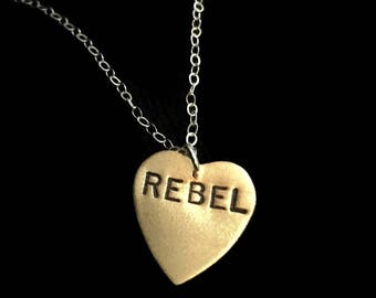 Rebel Heart, Resist, Anti Trump,  Feminism, Nasty Woman, Rebel Alliance, Star Wars Rebellion, Heart Necklace, Bad Ass, Bad Girl