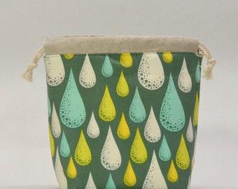Dew Drops Small Drawstring Knitting Project Craft Bag - READY TO SHIP