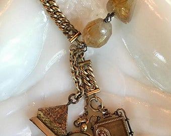 Beautiful Gold Chatelaine Style Necklace