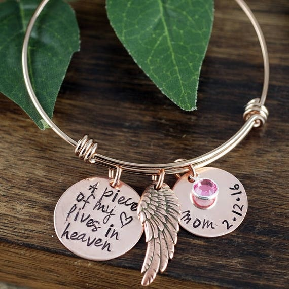 A Piece of my Heart Lives in Heaven, Personalized Memorial Charm Bracelet, Memorial Bangle Bracelet, Remembrance Bracelet, Loss of Child