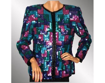 Vintage 1980s Sequin and Beaded Jacket -  Geometric Pattern - Color Block - M