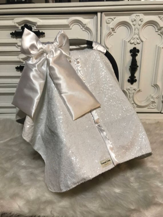 White sparkle with white satin , car seat canopy , gold sparkle with gold satin