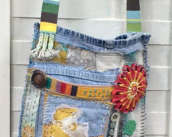 Handmade Mixed Media Artsy Crossbody Bag