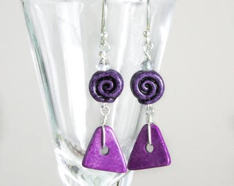 Purple Dangle Earrings, Aquamarine earrings Spiral Clay Bead amethyst geometric Mothers Day Gift Nautical Beach jewelry Boho silver earrings