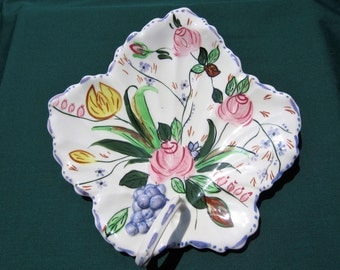 Southern Potteries BLUE RIDGE China, VERNA Hand-Painted, Handled Maple Leaf Shaped Vintage Cake Serving Plate Tray, 1937-1957 Era, Charming