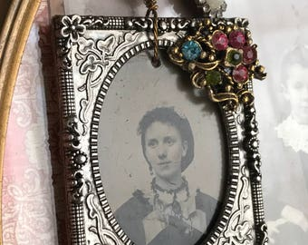 jolie fille - vintage tintype necklace antique portriat girl woman rhinestone sterling silver chain gemstone pink glass pearl victorian
