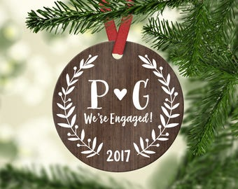 Personalized Engagement Ornament Personalized Engagement Gift for Couple Rustic Engaged Ornament Wood Engagement Christmas Ornament Year