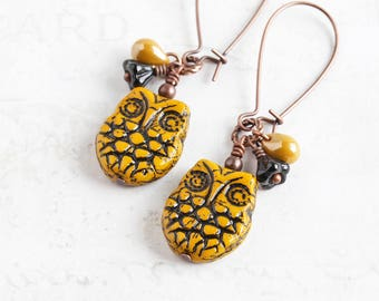 Sunflower Yellow Owl Earrings on Antiqued Copper Plated Hooks
