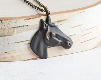 Black Horse Necklace, Oxidized Brown/Black Brass Horse Pendant on Brass Chain, Hand Patina, Country Jewelry, Equestrian Jewelry