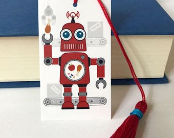Robot Bookmark With Handmade Tassel