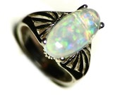 Silver Opal Ring Size 5, Ethiopian Opal Ring for Women, African Opal Ring Sterling (2.9 ct) Welo Opal Ring For Her, Christmas Present Ring