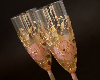 Champagne Flutes, Wedding Toasting Glasses, Antique Pink and Gold, Royal Wedding,  HAND PAINTED,  Set of 2