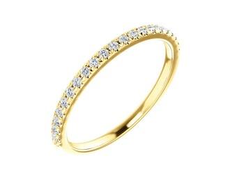 French Pave Set Diamond Eternity Band - VS1 Diamonds HALFWAY. 1.6mm Wide. 14k, 18k Yellow, Rose, White Gold & Platinum Wedding Ring