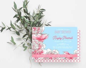 Peony Baby Shower Invitation, Floral Shower Invite, Pink Peonies, Baby Sprinkle, Aqua Blue, Pink, 850