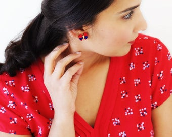 4th July earrings | patriotic jewelry | blue red earrings | Independance day royal blue red stud earrings | unique red tassel earrings